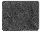 Blank black stone shale plate isolated on white background with copy space