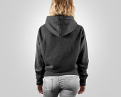 Blank black sweatshirt mock up back side view, isolated. Female wear grey plain hoodie mockup. Hoody design presentation. Clear loose model. Gray jumper backward. Man clothes sweat shirt sweater wear