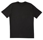 Blank Black T-Shirt Front with Clipping Path.