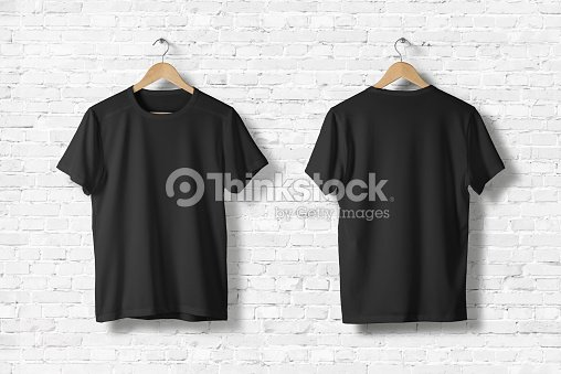560a857903 Blank Black T-Shirts Mock-up hanging on white wall, front and rear side  view . Ready to replace your design