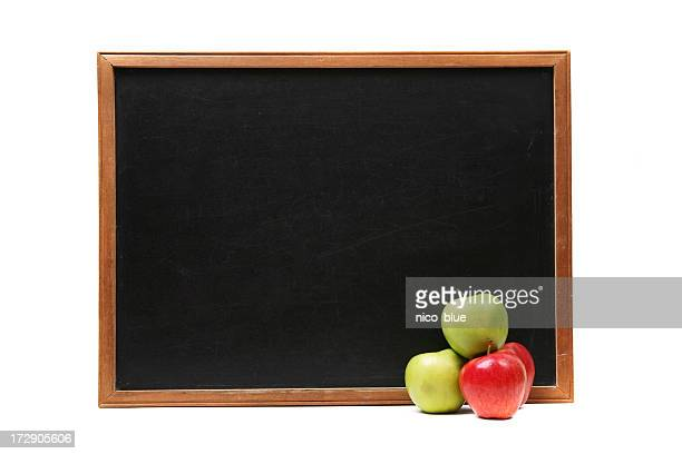 Blank blackboard and apple stack