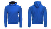 Blank blue male hoodie sweatshirt  with clipping path, mens pullover for your design mockup and template for print, isolated on white background.