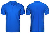 blank blue polo shirt, front and back view, isolated on  white background. Design polo shirt, template and mockup for print.