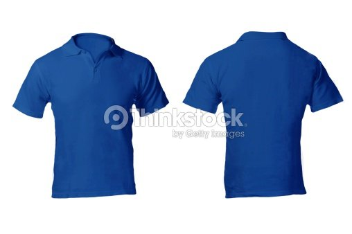 Blank blue polo shirt template on white background stock for Blue t shirt template