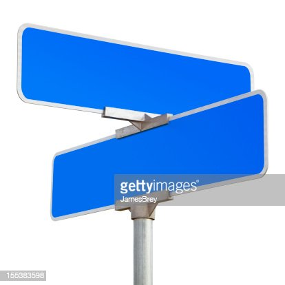 Blank Blue Road Sign Isolated on White