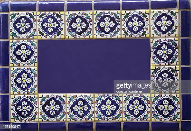Blank Blue SouthWestern Ceramic Tile Sign