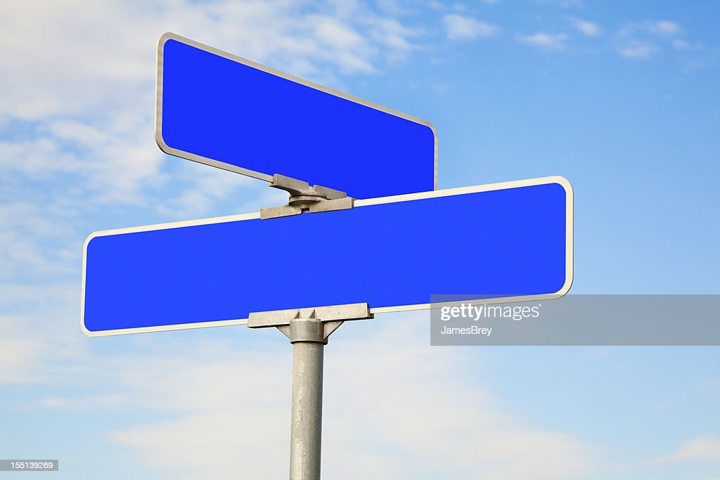 Blank Blue Street Intersection Sign : Stock Photo