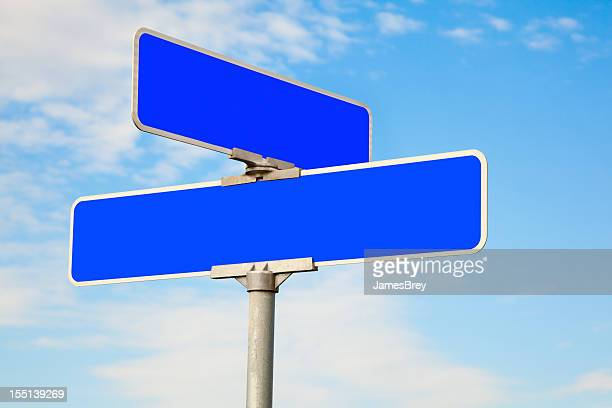 Blank Blue Street Intersection Sign