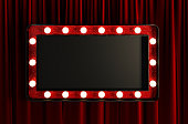 Blank Board with Red Frame and Light Bulbs. Framing For Your Headline Text. 3d Rendering.