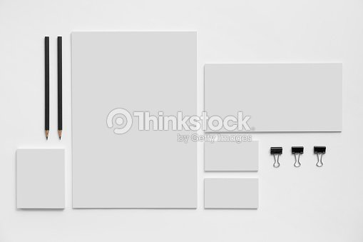 Blank branding mockup with gray business cards on white : Stock Photo