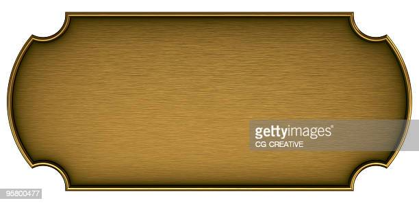 Blank brass plaque on a white background