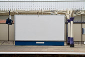 Blank british billboard at a railway station