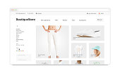 Blank browser window mock up with fashion web store template isolated, 3d illustration. Clothing web page interface mockup. Empty internet site template. Website screen layout for computer display.