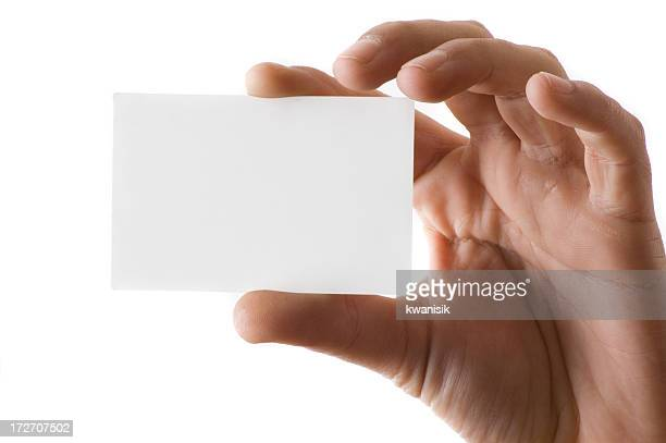 blank business card in a hand