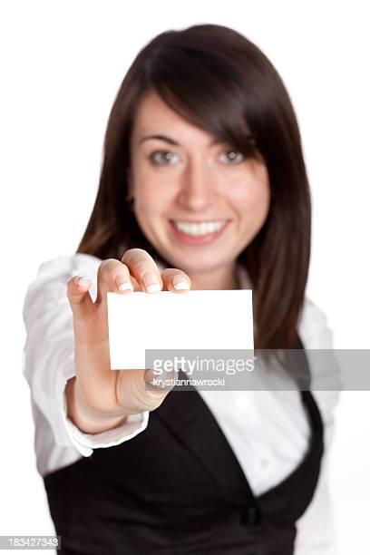 En blanco tarjeta de visita en una mano