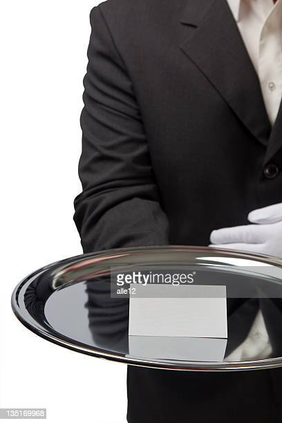 Blank business card on silver tray