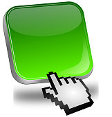 glossy green blank button with cursor - 3D illustration