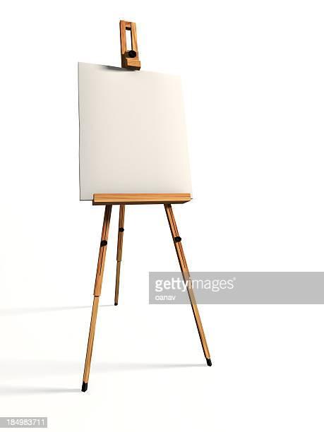 Toile vierge sur un arrière-plan blanc et chevalet de conférence