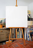 Blank canvas in artists studio