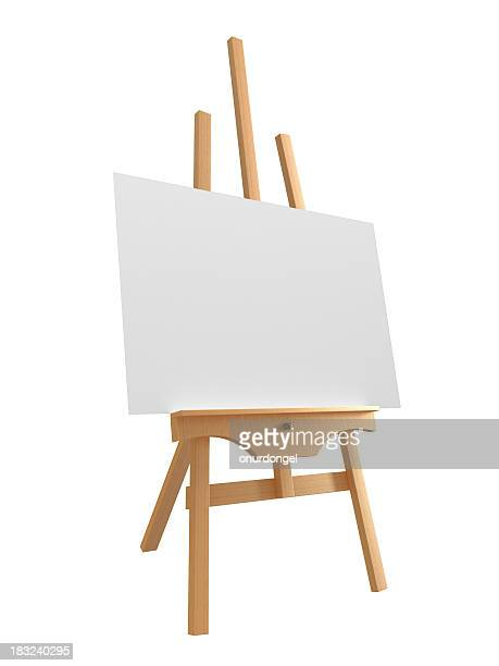 Blank canvas on large wooden easel