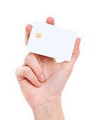 White prepaid card in woman's hand