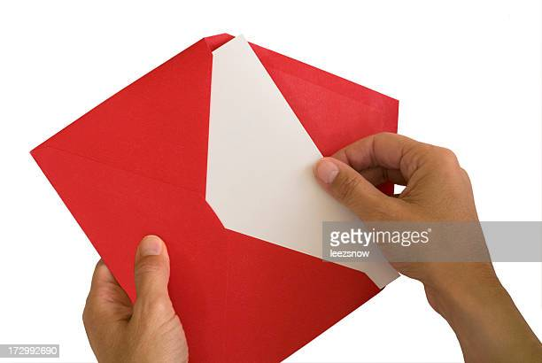 Blank Card in Red Envelope Isolated on White