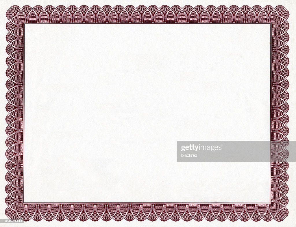 Blank Certificate : Stock Photo