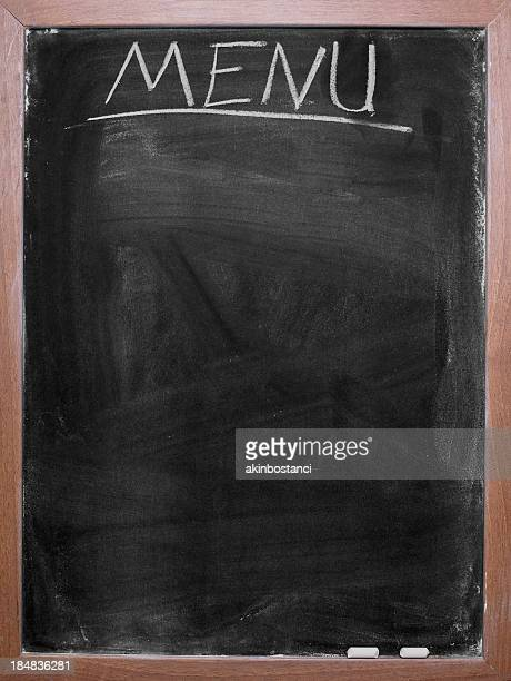 Blank chalkboard menu with wooden border