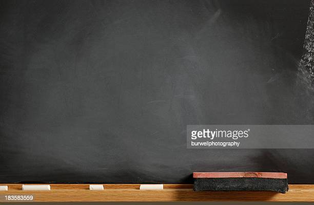 Blank Chalkboard with eraser and chalk