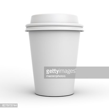 Blank coffee cup isolated on white background with shadow . 3D render : Stock Photo