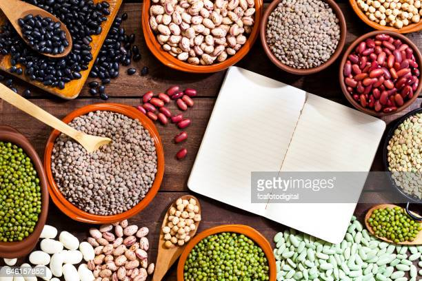Blank cookbook and legumes