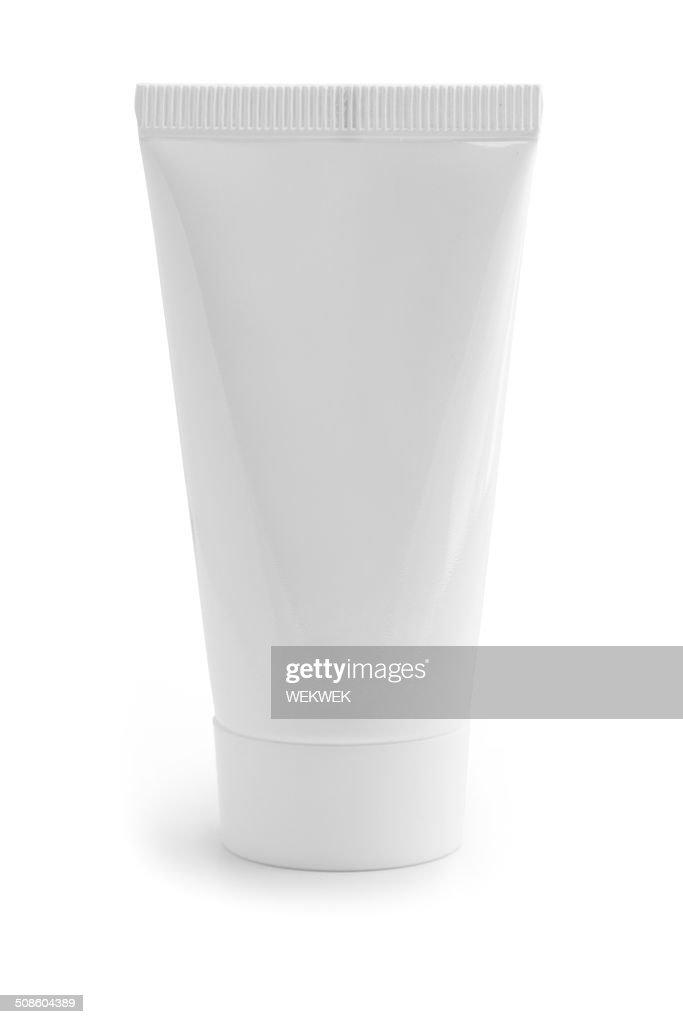 Blanco cosméticos recipiente : Foto de stock