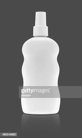 blank cosmetic spray bottle isolated on gray background : Stock Photo
