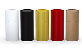 Blank cylindrical box packaging  with variety material set, clipping path included.
