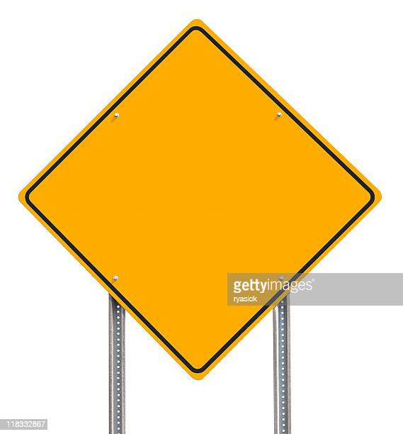 Blank Diamond-shaped Yellow Information Traffic Sign Isolated on White