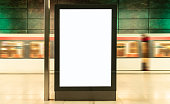 blank digital display advertisement billboard in train station