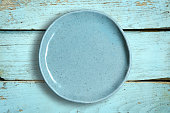 Top view of blank dish on a wood background.
