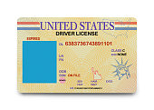 National ID Driver License with Copy Space Isolated on a White Background.