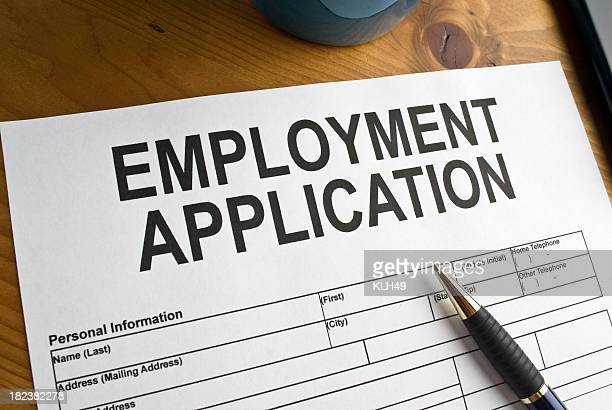 Blank employment application ready to be filled out