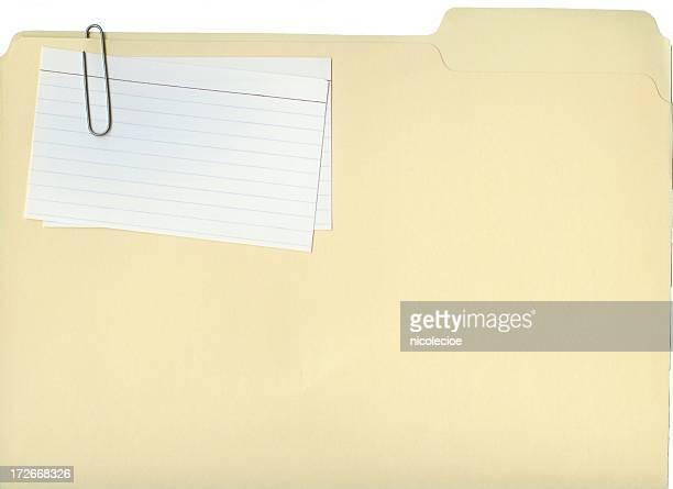 Carpeta de archivo en blanco y tarjetas de índice