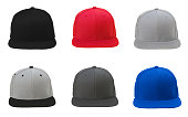 Blank flat snap back hat 6 set on white background