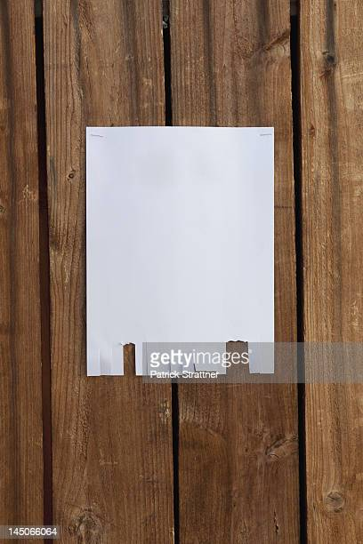 A blank flyer hanging on a wooden fence