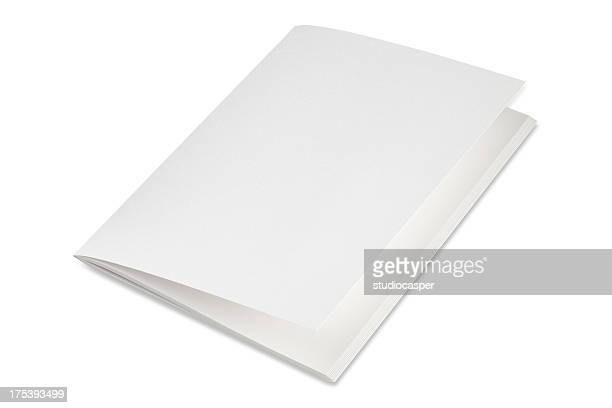 Blank folded brochure on a white background