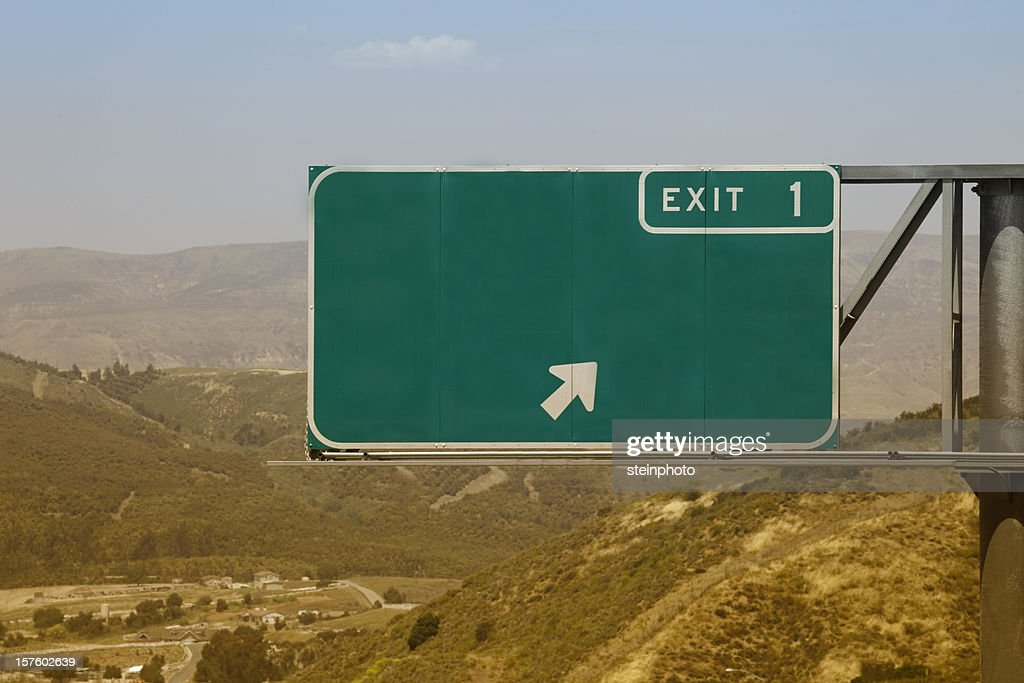 Blank Freeway Exit One Sign