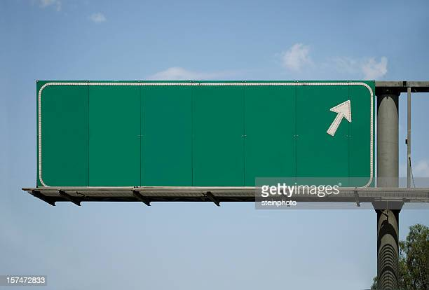Blank Freeway Sign With Arrow