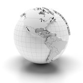 'Blank globe with national borders, 3 clipping paths provided'