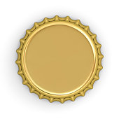 Blank gold bottle cap isolated on white background with shadow . 3D rendering.
