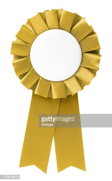 Blank gold ribbon rosette on white background