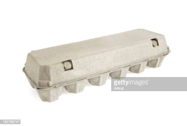 Blank gray egg carton on a white background