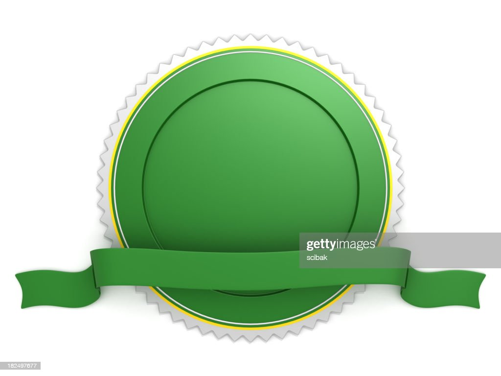 Blank green badge with ribbon : Stock Photo